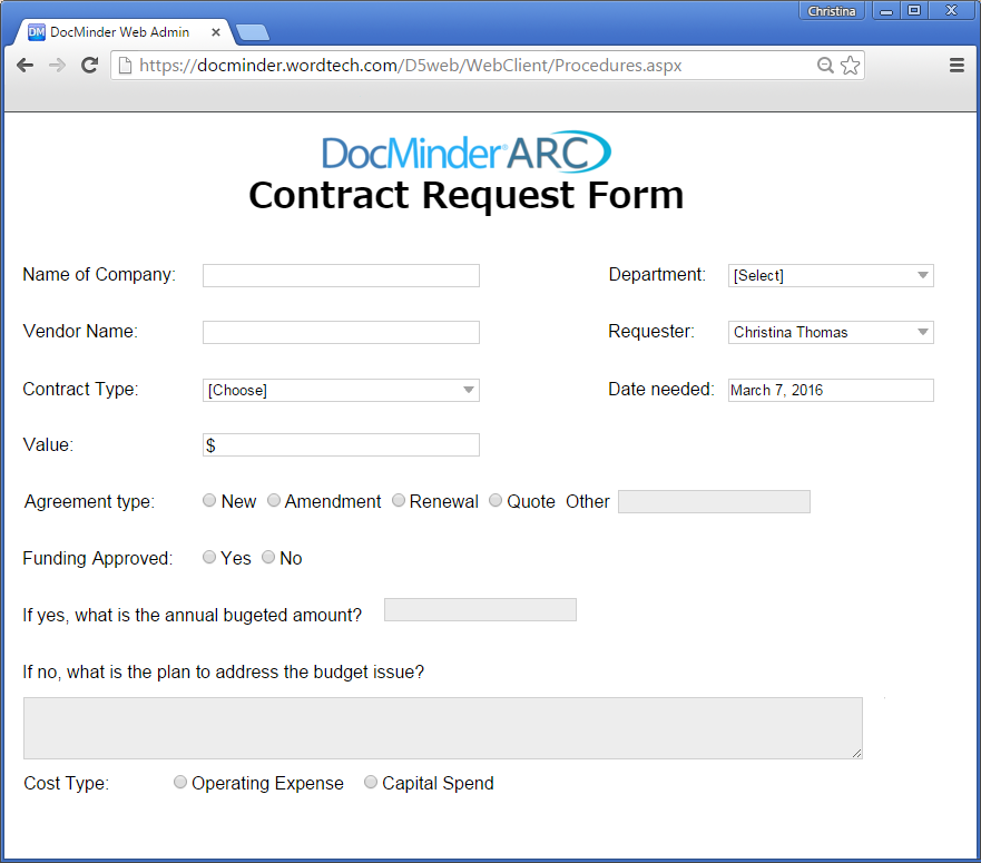 Contract Request Management | Word-Tech